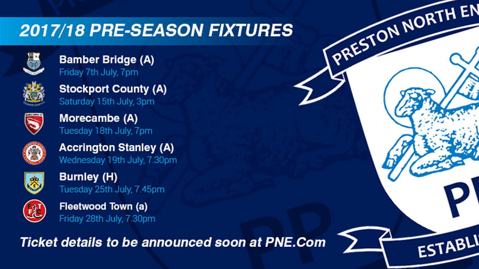 2017/18 Pre-Season Fixtures Announced - News - Preston ...