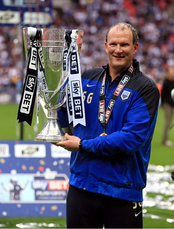 Simon Grayson with the Play-Off Final trophy
