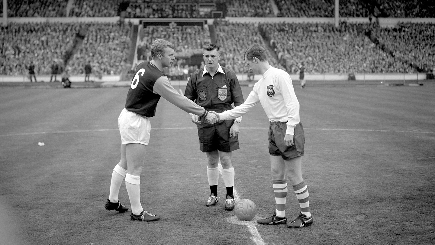 Nobby Lawton with Bobby Moore before the 1964 FA Cup Final at Wembley