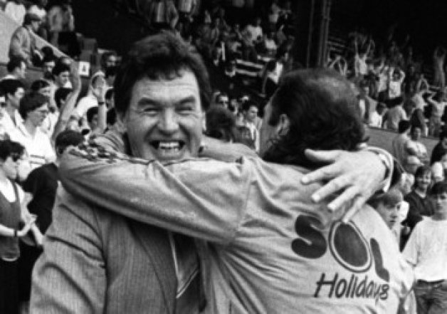 John McGrath celebrates promotion in 1987