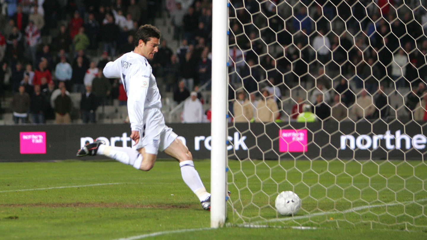 David Nugent scores on his England debut against Andorra